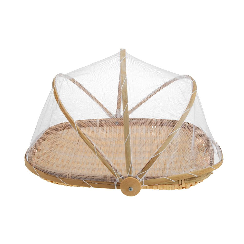 Bamboo Bug Proof Basket with Mesh Dome