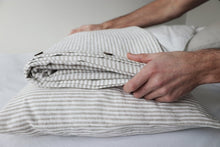 Load image into Gallery viewer, 100% French Flax Linen Natural Stripe Quilt Cover Set