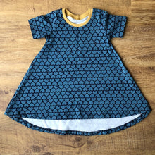 Load image into Gallery viewer, Blue hearts T-Shirt Dress. Size 9-12 months