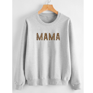 Mama Animal Print Sweatshirt Grey