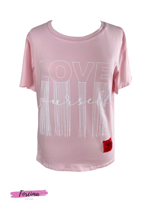Style: Casual Color: Baby Pink Pattern Type: Love Yourself Graphic Neckline: Round Neck Details:  Red tag on bottom left Length: Regular Sleeve Length: Short Sleeve Season: Summer Fit Type: Regular Fit Material:Cotton Composition: 95% Cotton, 5% Elastine Fabric: Slight Stretch     Fits UK 10 to 14