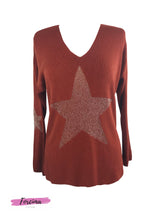 Load image into Gallery viewer, Lurex star print  V-Neck Jumper rust