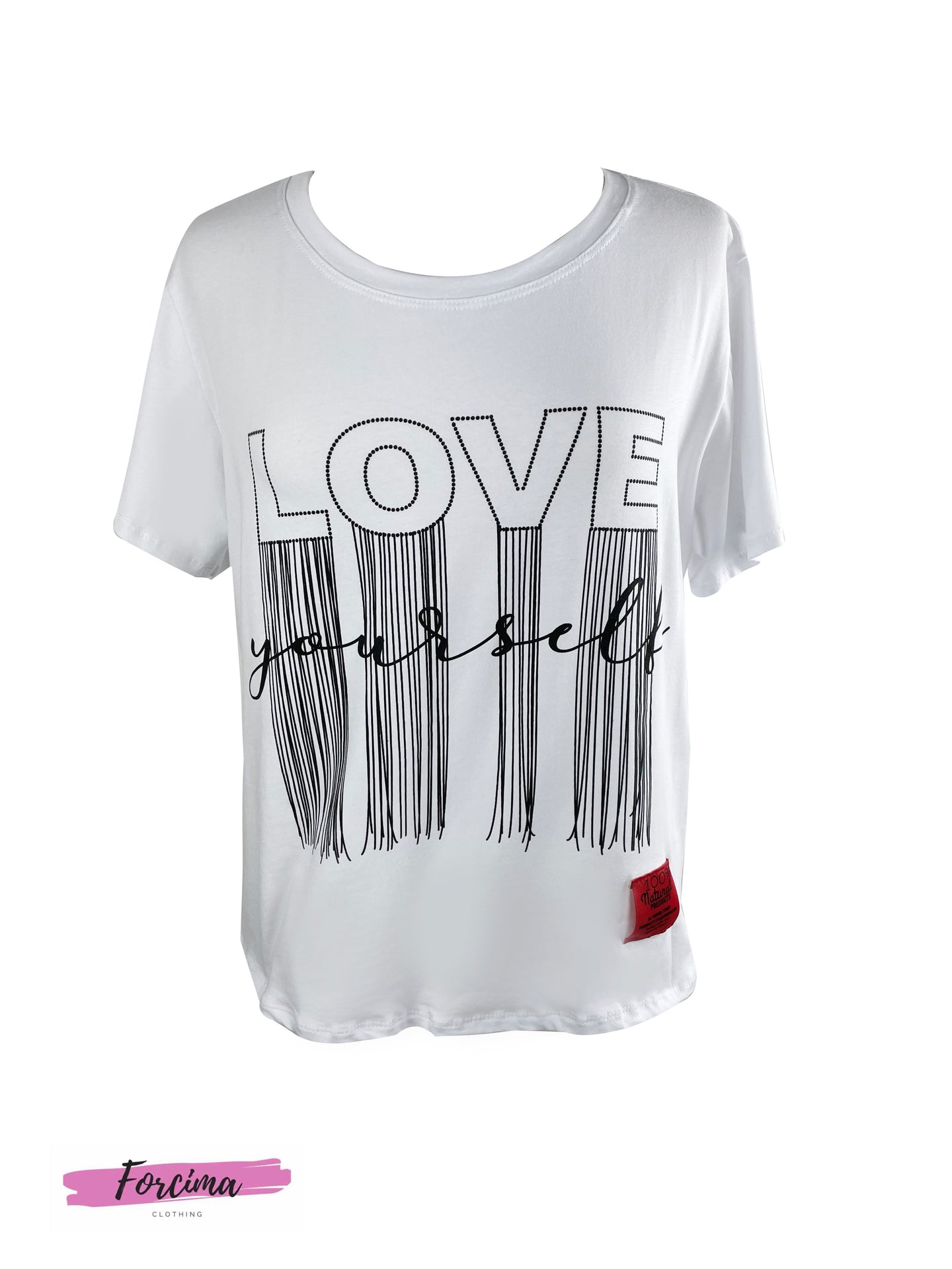 LOVE YOUSELF RED TAG  T-SHIRT - WHITE