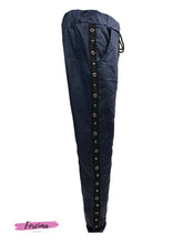 Load image into Gallery viewer, Drawstring Waist PU Leather Pants with side stripe -  Matt Navy