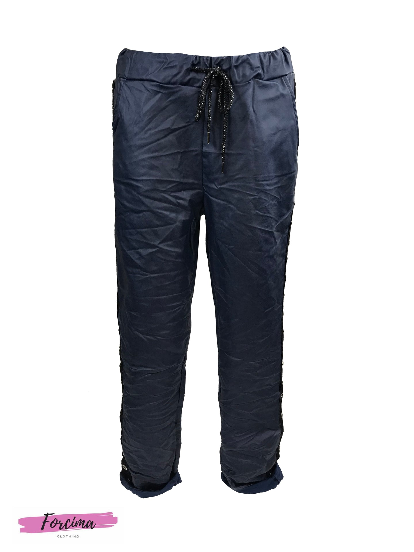 Drawstring Waist PU Leather Pants with side stripe -  Matt Navy