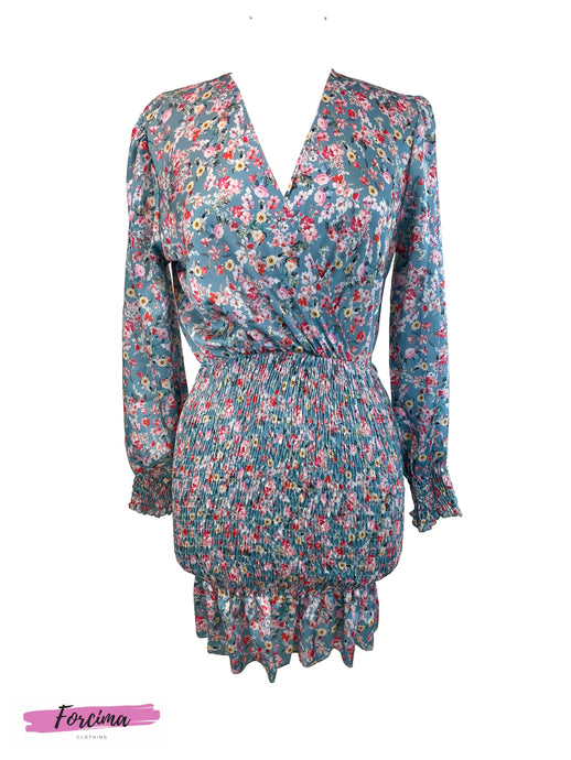 Style: Casual Color:  Multicolor / Navy Pattern Type: Floral, All Over Print Neckline: Cross Over Length: Short Details: Shirred Bottom Half Sleeve Length: Long Sleeve with Shirred Cuffs Season: Spring/Summer   Fits Uk Size 8    50% polyester  45% viscose  5% elastine
