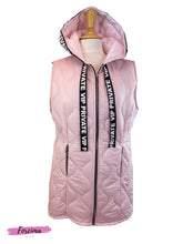 Load image into Gallery viewer, Hooded Long Length Gilet In Blush Pink  Black Ribbon Detailing Attched To The Hood  Sleeves are overrated   Cut longer than standard length  Free Size, fits UK 10-14  100% Nylon