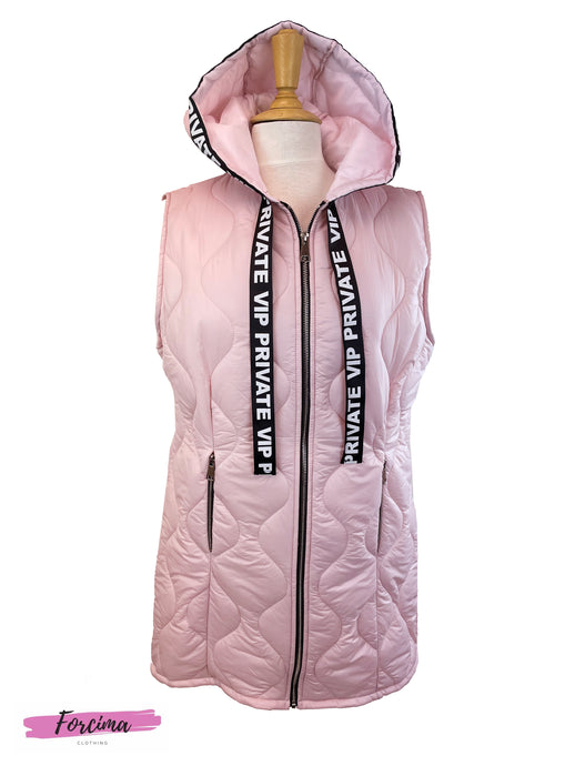 Hooded Long Length Gilet In Blush Pink  Black Ribbon Detailing Attched To The Hood  Sleeves are overrated   Cut longer than standard length  Free Size, fits UK 10-14  100% Nylon