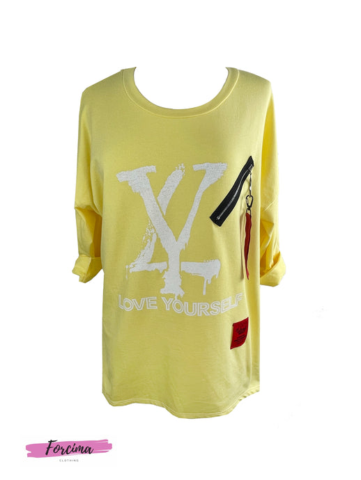 Red Tag 'Love Yourself' Zip Top-Lemon