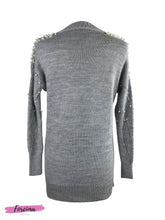 Load image into Gallery viewer, Pearl Embellished Tunic -   Light Grey