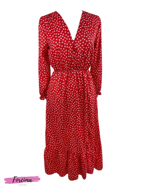 Style: Casual Color: Red Pattern Type: Floral Neckline: V neck with button opening Length: Midi Dress Details: Front side Split 1/3 UP from bottom Sleeve Length: Long Sleeve with Cuff Season: Spring/Summer Front: Half button upper front  Fits Uk Size 8  50% polyester, 45% viscose, 5% elastine