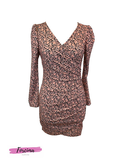 Animal Print Dress - Peach