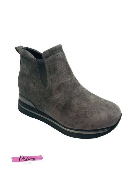 Grey suede look ankle boots