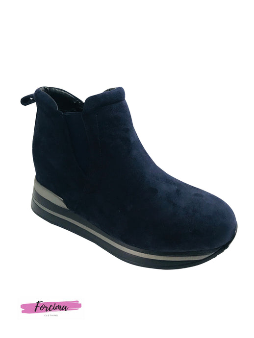 Navy suede look ankle boots