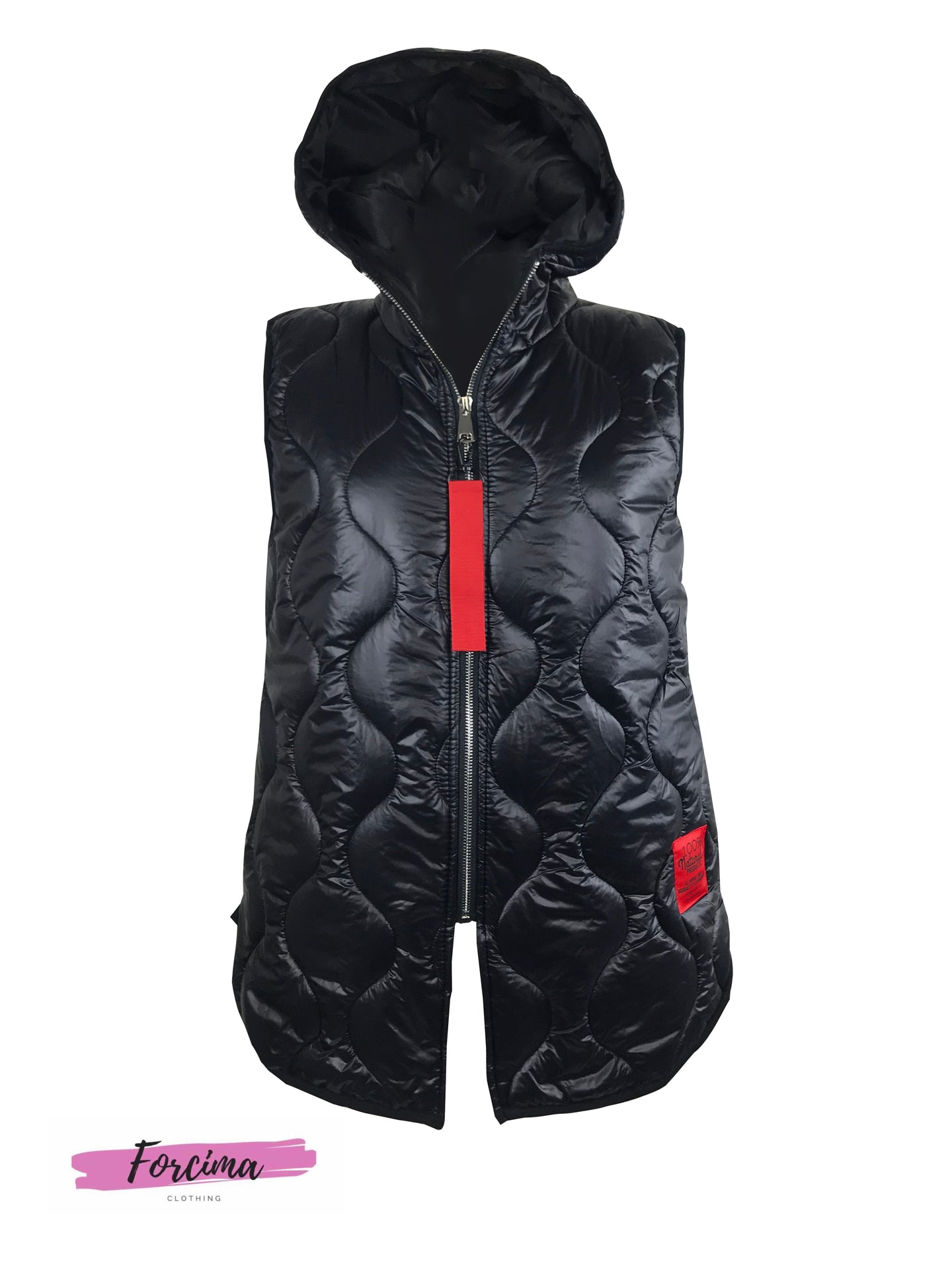 ladies Black puffer waist coat with red zip toggle