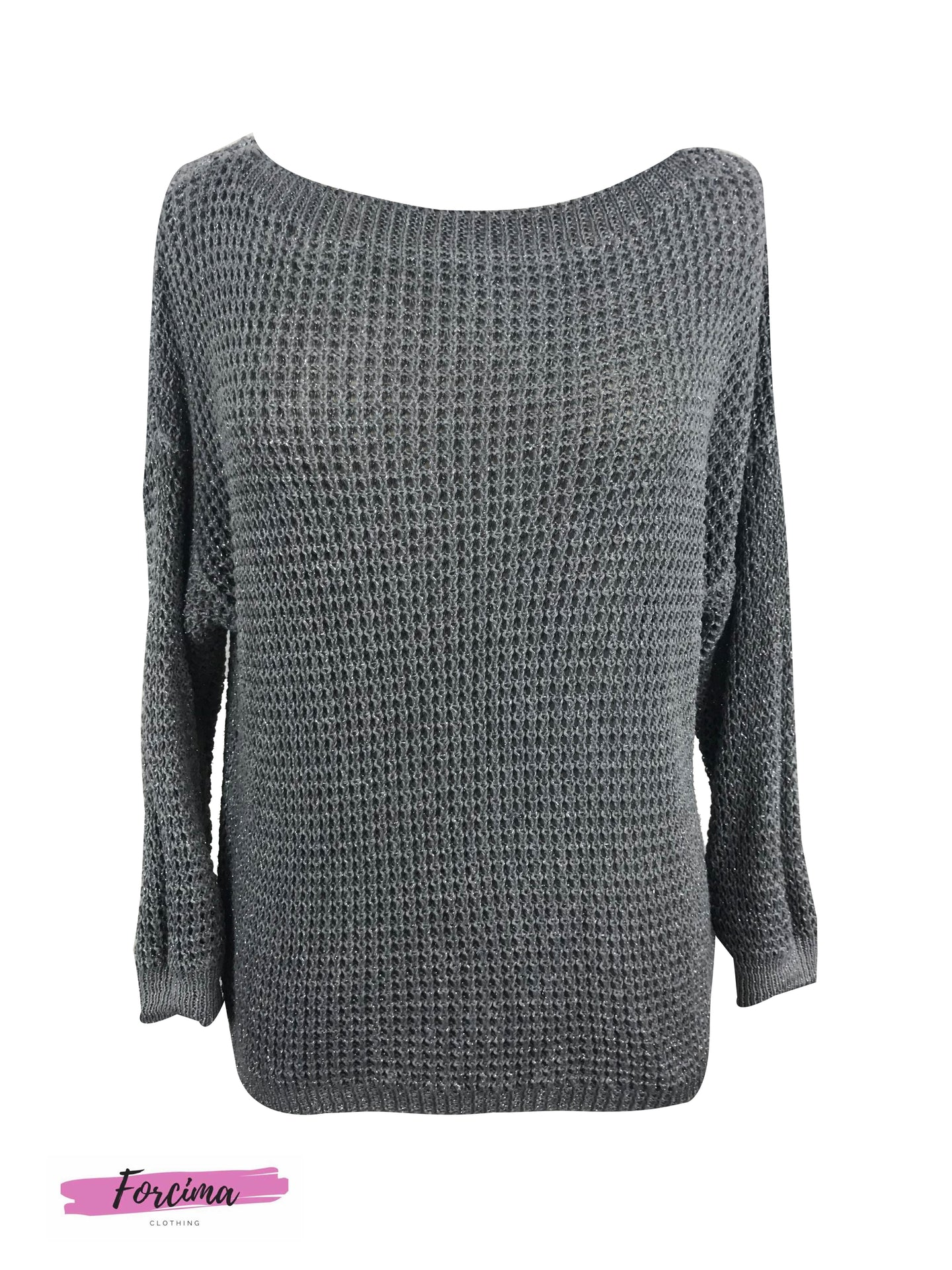 Lurex Crochet Knit grey