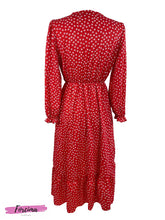Load image into Gallery viewer, Style: Casual Color: Red Pattern Type: Floral Neckline: V neck with button opening Length: Midi Dress Details: Front side Split 1/3 UP from bottom Sleeve Length: Long Sleeve with Cuff Season: Spring/Summer Front: Half button upper front  Fits Uk Size 8  50% polyester, 45% viscose, 5% elastine