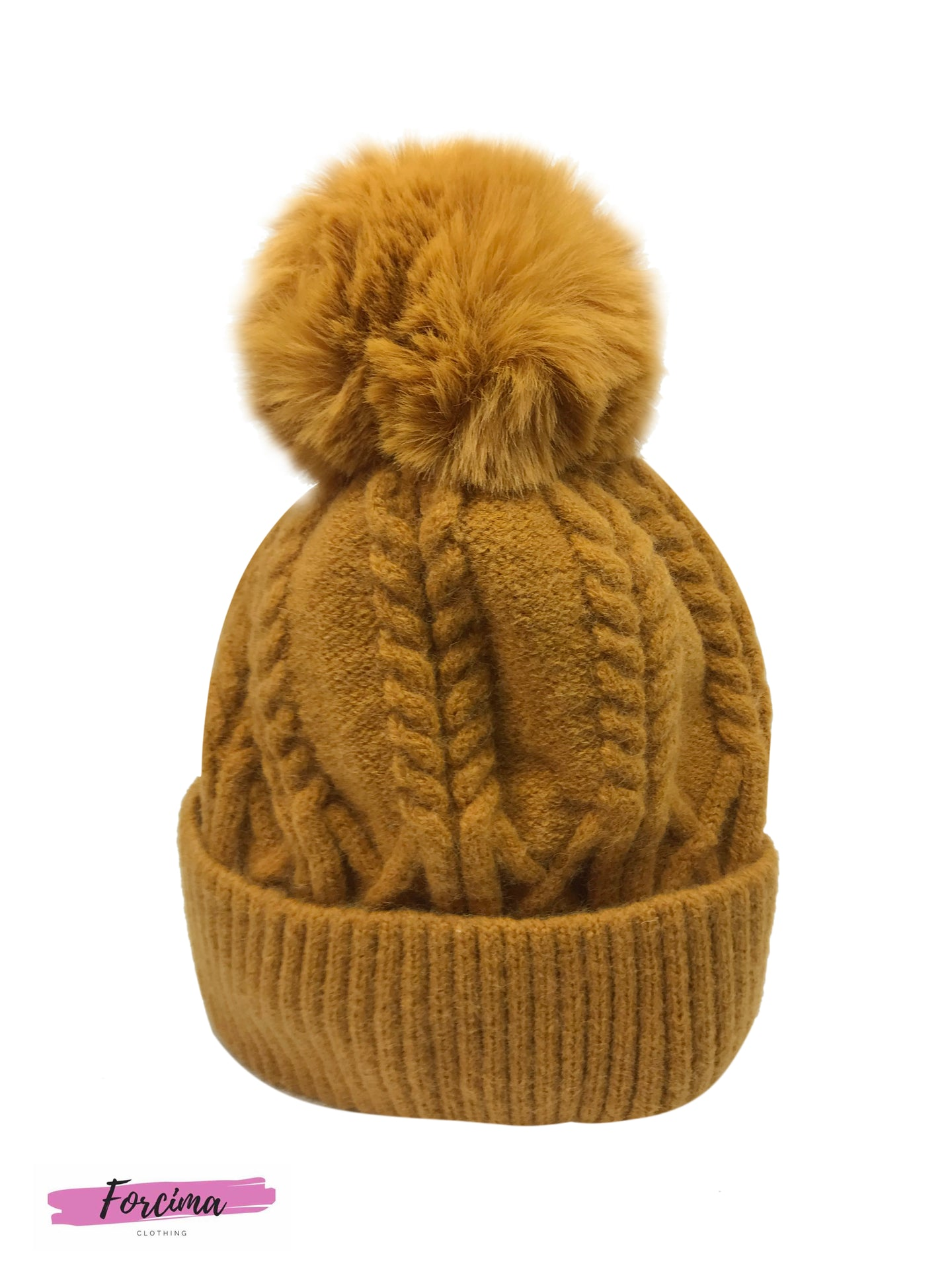 Knitted Bobble Cable Hat  -   Available in more colours
