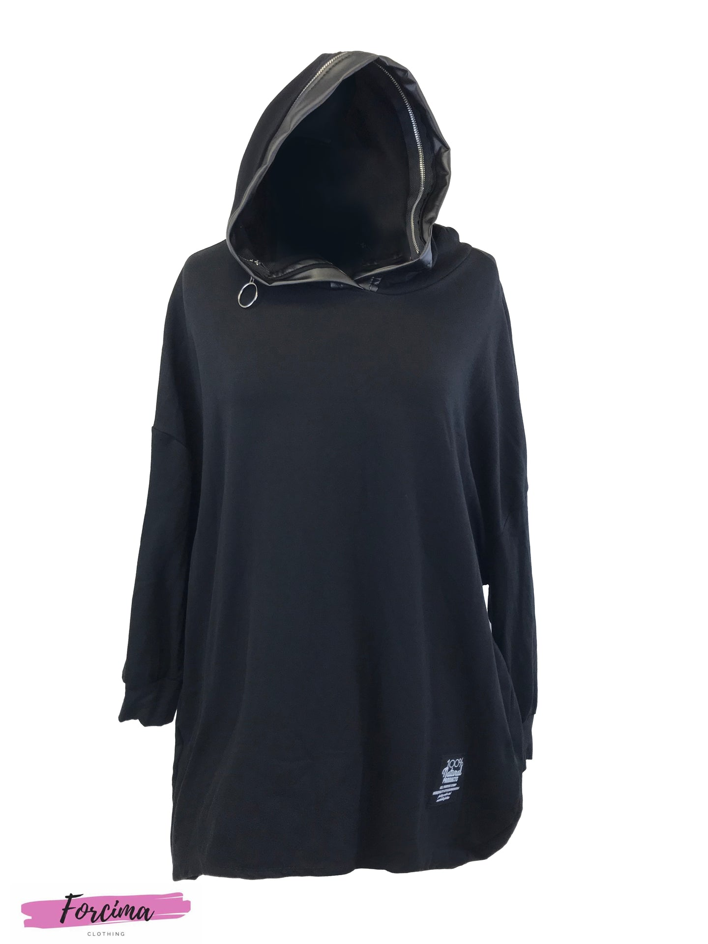 Hoodie Dress Pu Border- Black