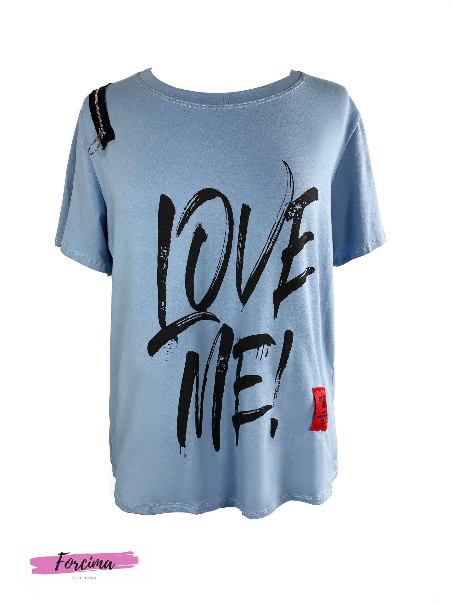 LOVE ME RED TAG  T-SHIRT - BABY BLUE