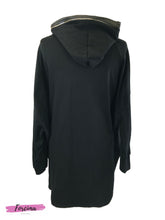 Load image into Gallery viewer, Hoodie Dress Pu Border- Black