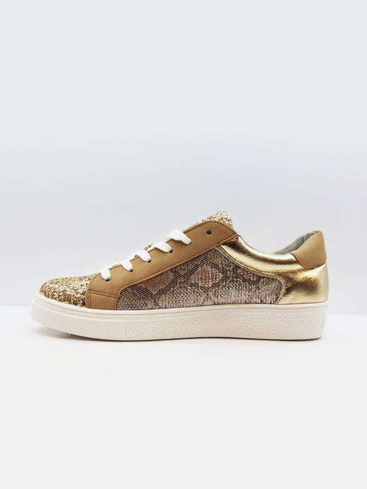 Trainers with Shimmer and Snake Print - Gold