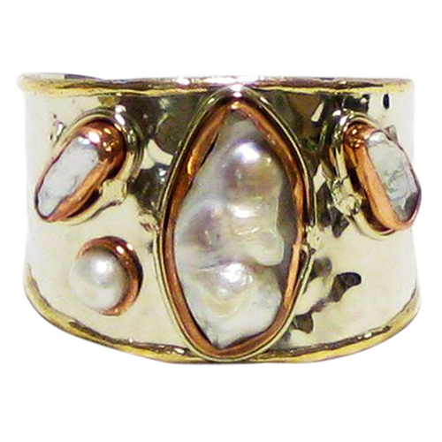 Cuff Gold White Metal & Copper w/Mother of Pearl