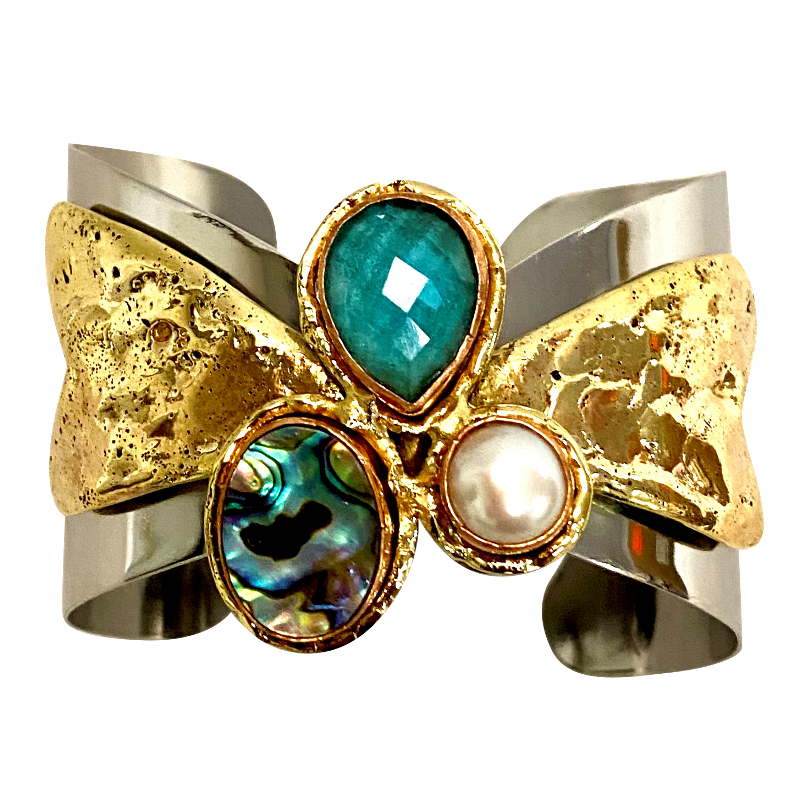 Stainless & Brass Cuff w/ Faceted  Aqua Marine, Abalone & Pearl