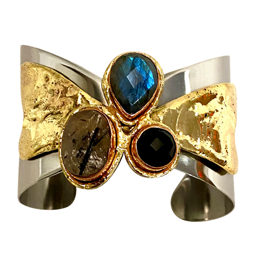Stainless & Brass Cuff w/ Faceted Labradorite , Black Rutile & Black Onyx