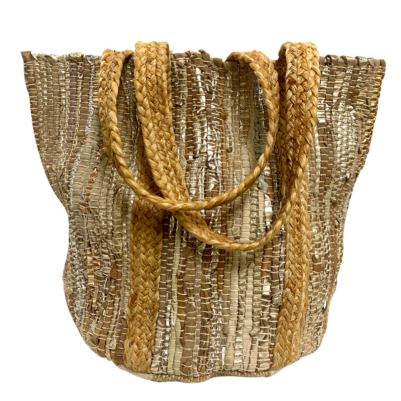Handbag - Small Recycled Leather Handloom Tote w/Jute Strap