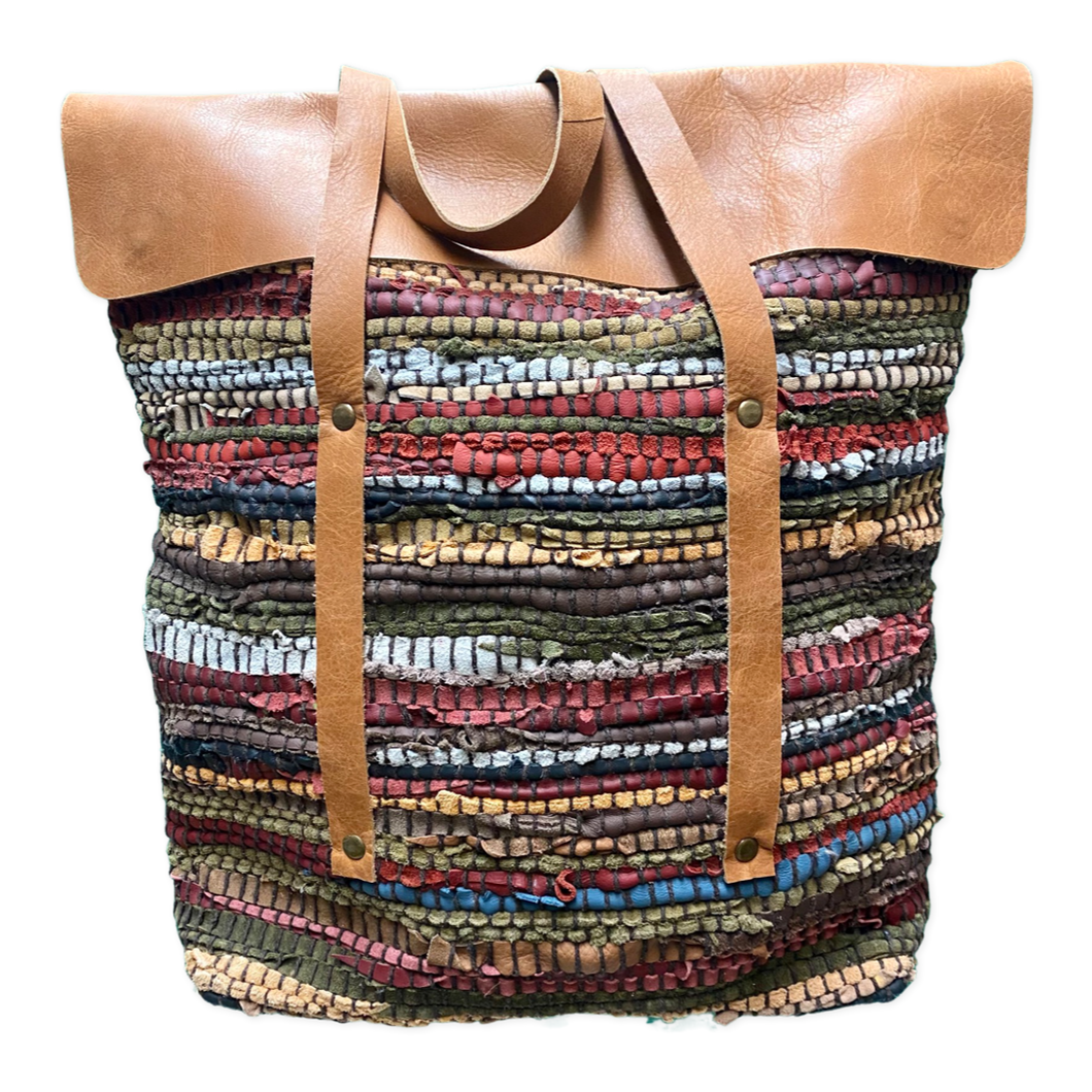 [CB-252A] Handbag - Multicolor Recycled Leather Canvas Lined  Handloom Bag w/Sheepskin Leather Flap & Straps