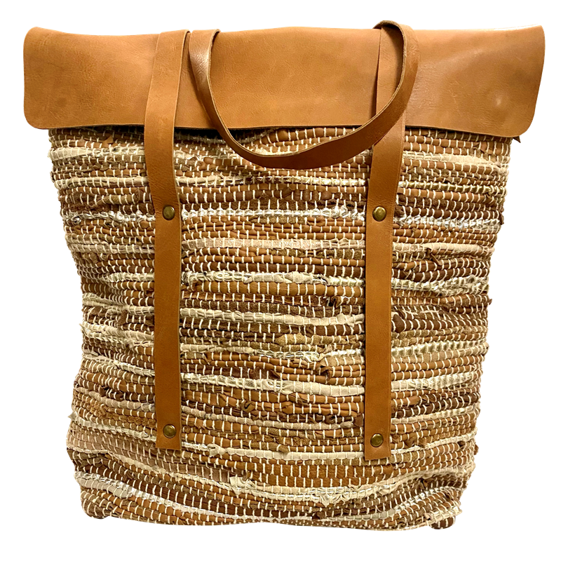 Handbag - Recycled Leather Canvas Lined  Handloom Bag w/Sheepskin Leather Flap & Straps