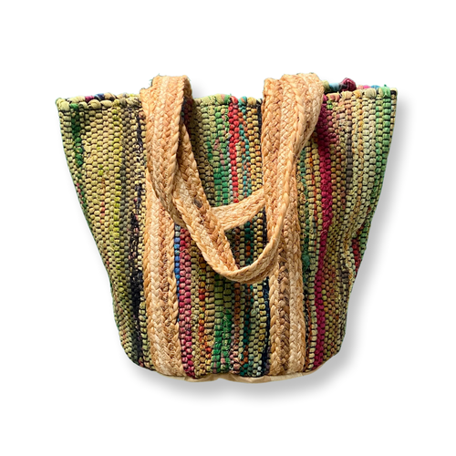 Handbag - Small Recycled Cotton Thread Handloom Tote w/Jute Strap