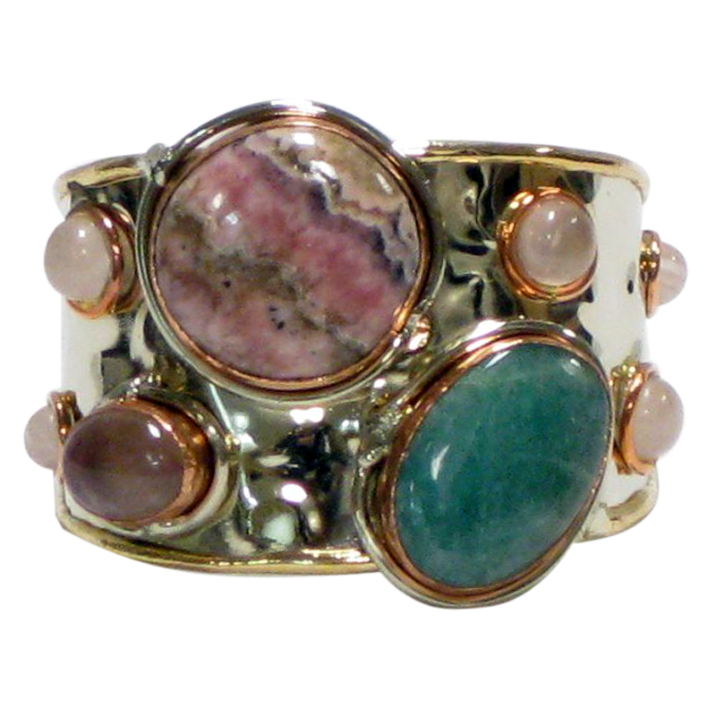 Gold White Metal Cuff w/ Amazonite, Rhodochrosite & Rose Quartz