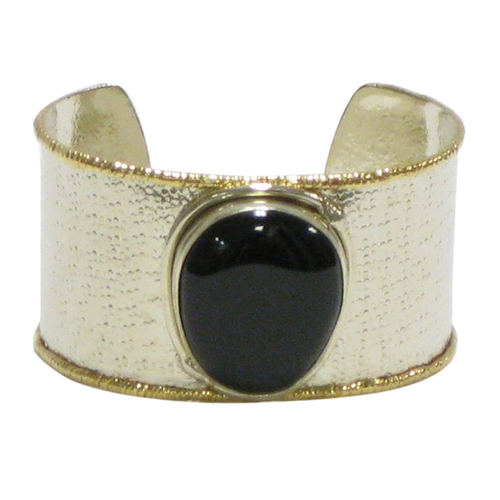 Gold White Metal Cuff - Black Onyx