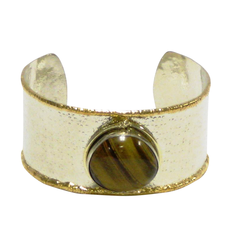 Gold White Metal Cuff w/Tiger Eye (Sale Item Not Returnable)