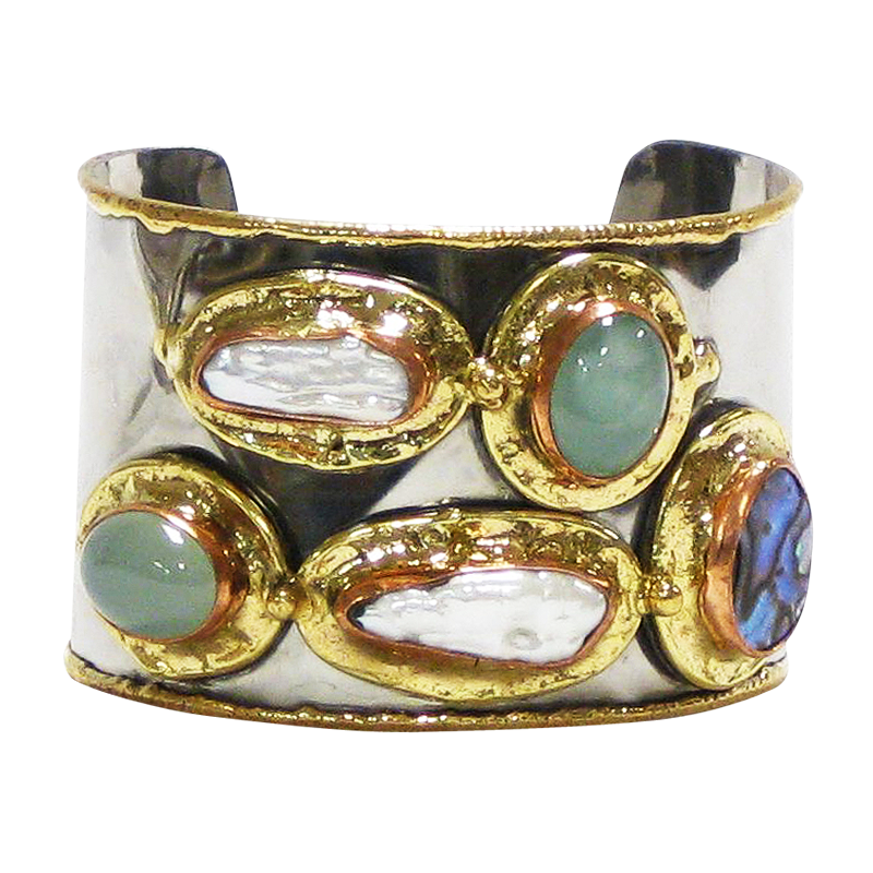 Silver Gold Copper White Metal Cuff w/Abalone, Peart & Chalcedony Onyx