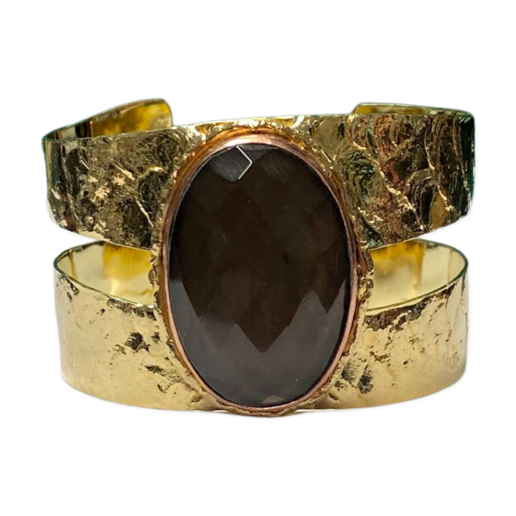[CE-5326-SQ] Brass & Copper Cuff w/Faceted Smokey Quartz Stone