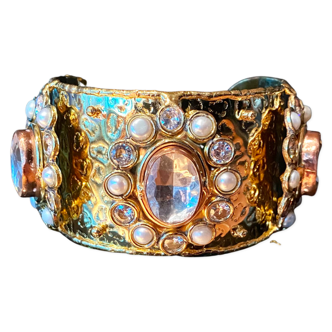 [CE-5386-CRPL] Brass Copper Cuff w/Faceted Crystals & Pearls