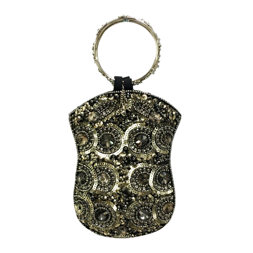 David Jeffery Mobile Bag - Grey Beads & Sequins w/Ring Handle