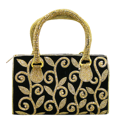 Handbag - Black Velvet w/Gold Crystal Stones and Crystal Handle