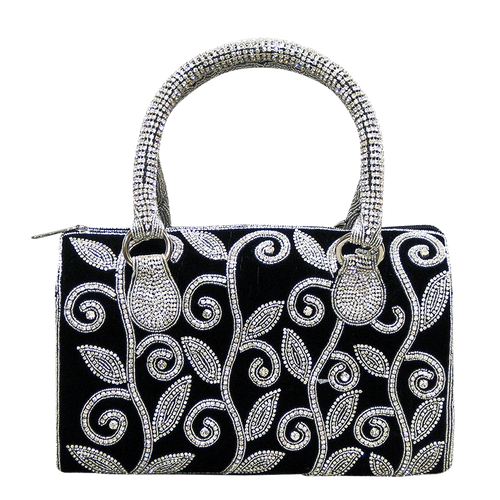 Handbag - Black Velvet w/Silver Crystal Stones and Crystal Handle