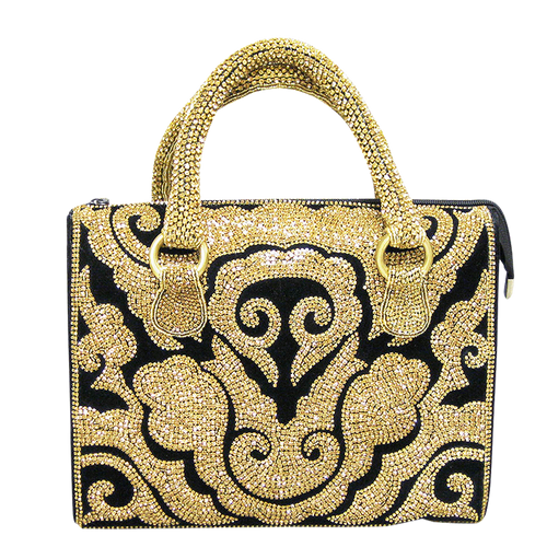 Handbag - Black & Gold Austrian Crystals w/Crystal Handle
