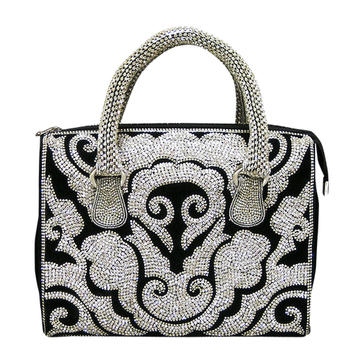 Handbag - Black & Silver Austrian Crystals w/Crystal Handle