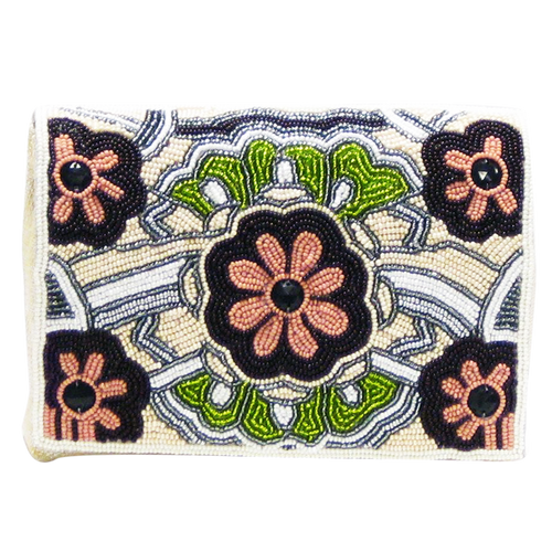David Jeffery Handbag - Ivory Beads w/Flower Pattern Green Pink & Black(Sale Item Not Returnable)
