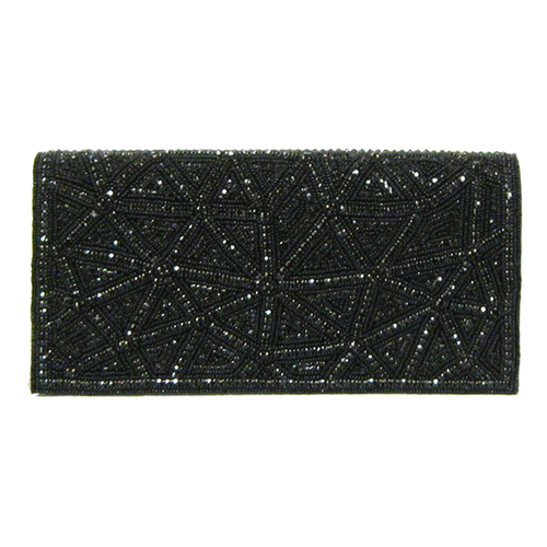 David Jeffery Handbag - Black Crystals Beads w/Crystal Strap