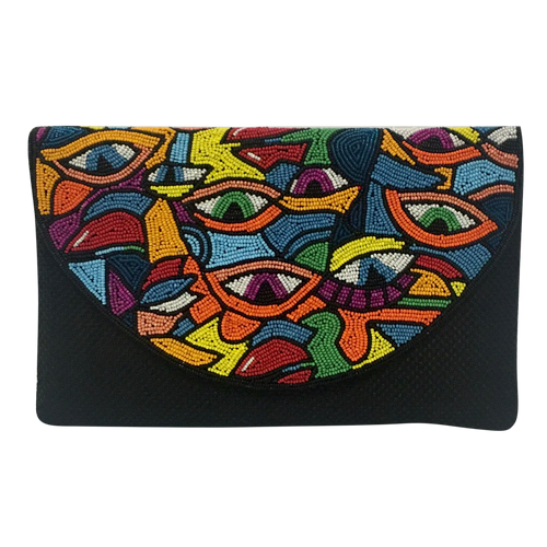 David Jeffery Handbag - Black w/Multicolor Eye Clutch & Chain Strap