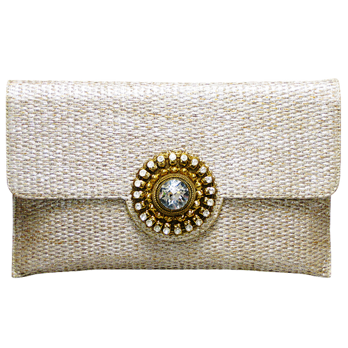Handbag - Tan Gold & Crystal Stone Clutch w/Chain Strap
