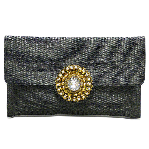 Handbag - Black Gold & Crystal Stone Clutch w/Chain Strap