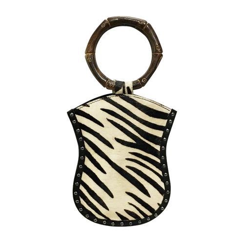 David Jeffery Mobile Bag - Cow Hide Zebra w/Leather Studs & Wooden Ring Handle